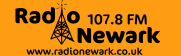 Radio Newark NEW  logo black with frequency 107FM and website